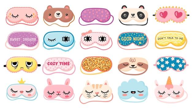 Máscaras para soñar. máscara de noche con lindos ojos de niña, frases para dormir, caras de panda, oso y gato. máscara de animales de dibujos animados para el conjunto de vectores de impresión de pijama. elementos de ropa de dormir para descansar y relajarse.