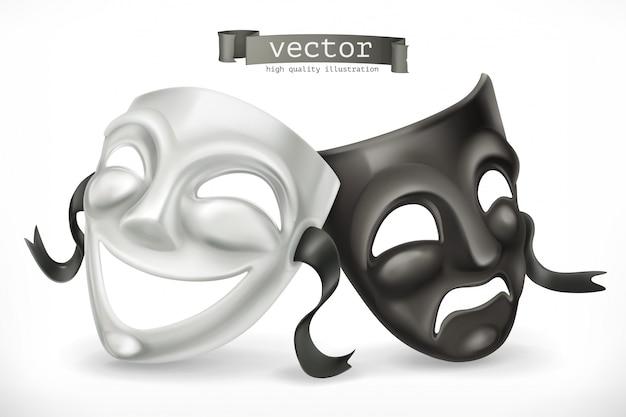 Máscaras teatrales en blanco y negro. comedia y tragedia, icono 3d