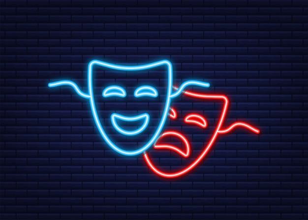 Máscaras teatrales de comedia y tragedia. estilo neón. ilustración vectorial.