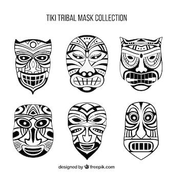 Máscaras tribales en blanco y negro