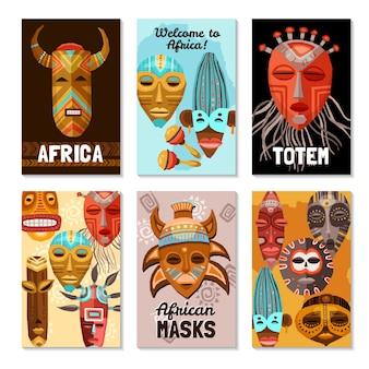 Máscaras tribales étnicas africanas tarjetas