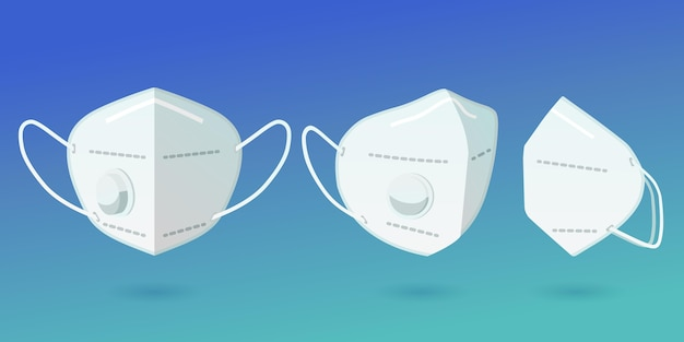 Mascarilla de diseño plano kn95 en colección de diferentes perspectivas