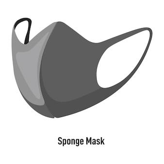 Mascarilla de esponja facial, revestimiento facial reutilizable aislado fabricado en textil. atención sanitaria en pandemias, prevención de enfermedades. medidas de protección durante el brote de coronavirus, vector en estilo plano