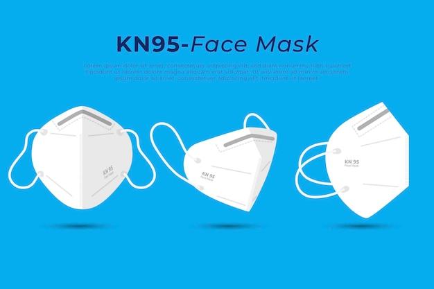 Mascarilla facial plana kn95 en diferentes perspectivas