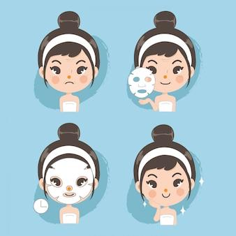 Mascarilla facial de tratamiento linda para la belleza.