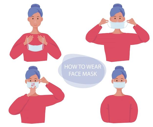 Mascarilla protectora. gestos humanos cómo usar la máscara de la gripe en la cara ilustraciones de información de concepto de protección de infección de salud