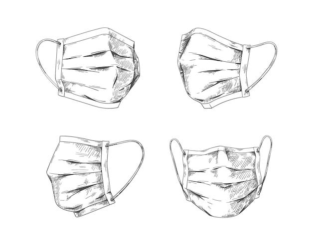 Mascarillas respiratorias. mascarilla médica dibujada a mano, protección y prevención de la neumonía por gripe y coronavirus. diseño gráfico de la máscara respiratoria del doodle del vector para proteger la contaminación de la salud