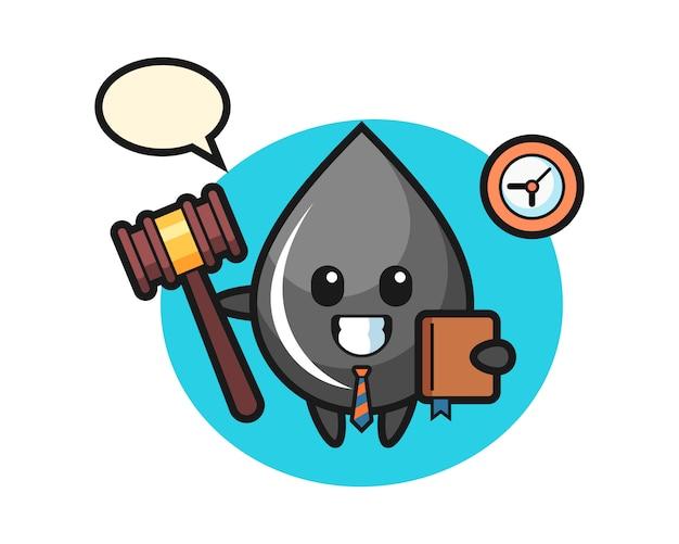 Mascot caricatura de gota de aceite como juez