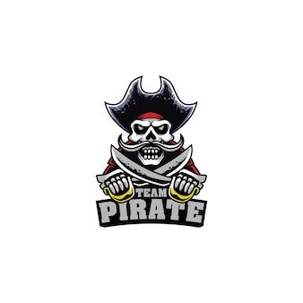 Mascot logo gaming skull pirate