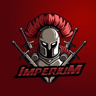 Mascot logo spartan con espada typo