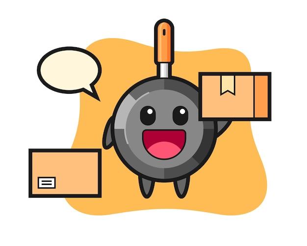 Mascot sartén como mensajero