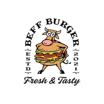 Mascot vaca con combinación de hamburguesa. logotipo de hamburguesa de ternera