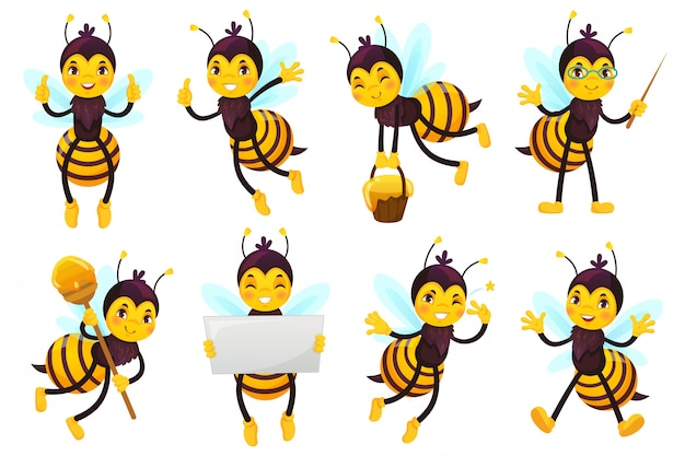 Mascota de abeja de dibujos animados. cute beebee, flying bees y happy funny yellow bee character mascots vector illustration set