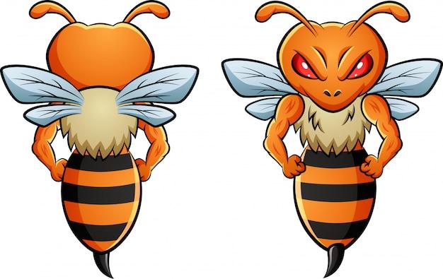 Mascota de abeja con dos lados diferentes.