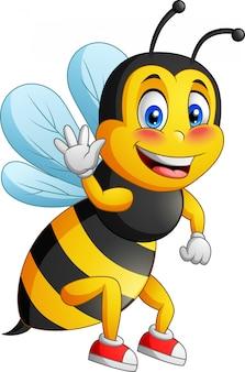Mascota de la abeja con dos lados diferentes