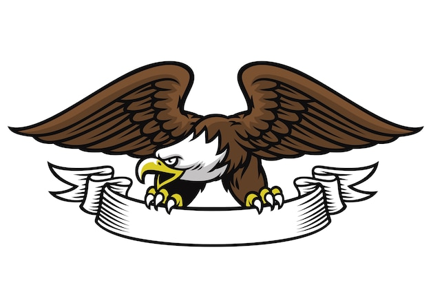 Mascota águila agarre la cinta