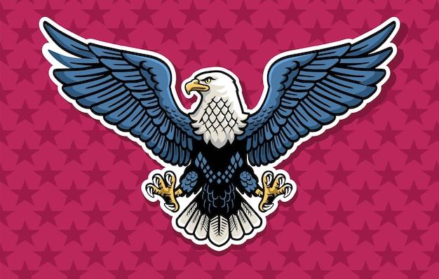 La mascota del águila colorida extendió el vector de las alas con el fondo de estrellas granate