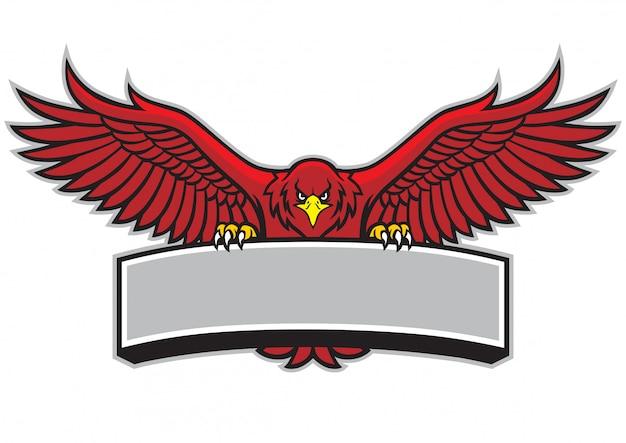 Mascota águila extendiendo las alas y agarrar el copyspace en blanco