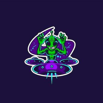 Mascota alienígena y logo de juegos esport.