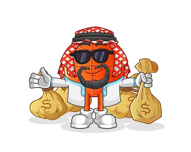 Mascota árabe rica de baloncesto. dibujos animados