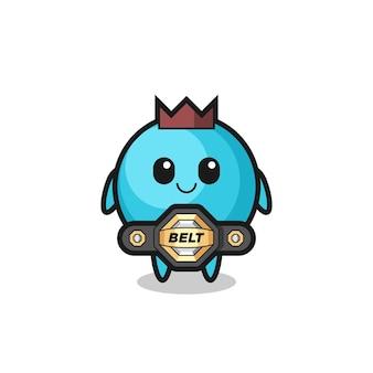 La mascota de arándanos del luchador de mma con un cinturón, diseño de estilo lindo para camiseta, pegatina, elemento de logotipo