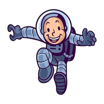 Mascota de astronauta de dibujos animados