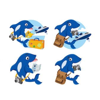 Mascota de ballena azul para logo de viajero.