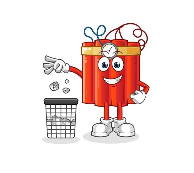Mascota de basura de tiro de dinamita. vector de dibujos animados
