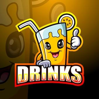 Mascota de bebida de dibujos animados