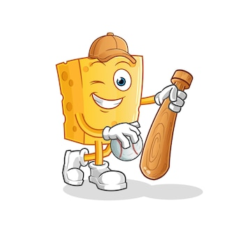 Mascota de béisbol de juego de queso. dibujos animados