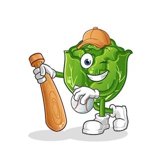 Mascota de béisbol jugando repollo