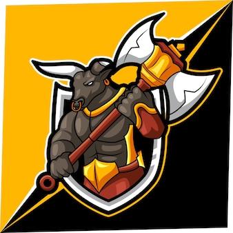Mascota de bull esport para el logotipo de deportes y esports.