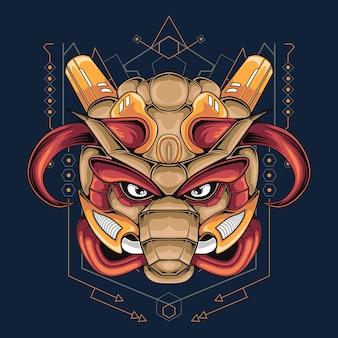 Mascota bull mech head con geometría de fondo