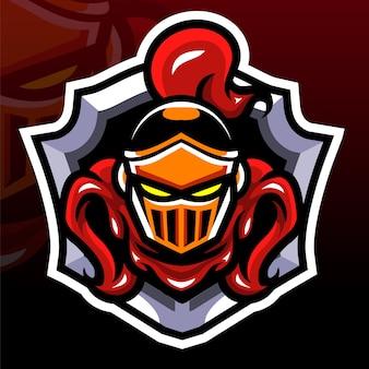 Mascota de cabeza de caballero. logotipo de esport