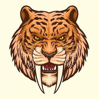 Mascota de cabeza de diente de sable enojado