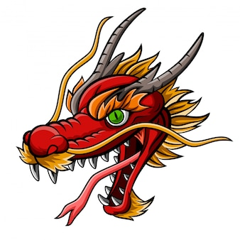 Mascota de cabeza de dragón rojo feroz de dibujos animados