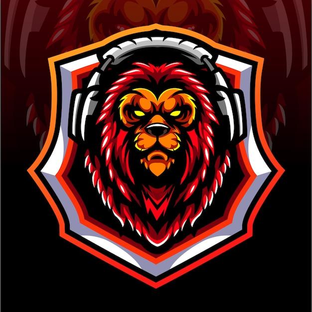 Mascota de cabeza de león. diseño de logo de esport
