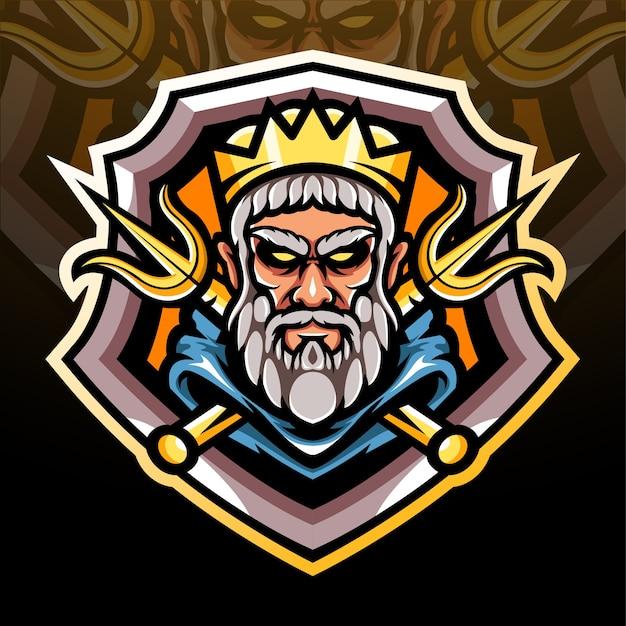 La mascota de la cabeza de poseidón. diseño de la mascota del logotipo de esport