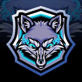 Mascota de cabeza de zorro. diseño de logo de esport