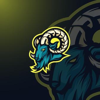 Mascota de cabra logo e-sport