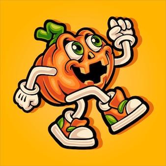 Mascota de calabaza de halloween caminando