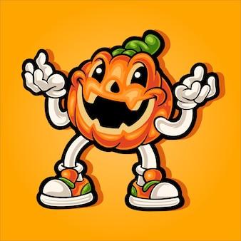 Mascota de calabaza de halloween riendo