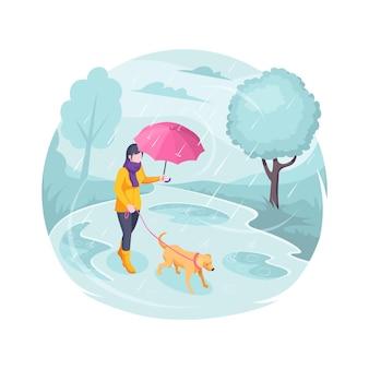 Mascota caminando bajo la lluvia mujer con perro vector ilustración plana isométrica chica con perro con correa caminando