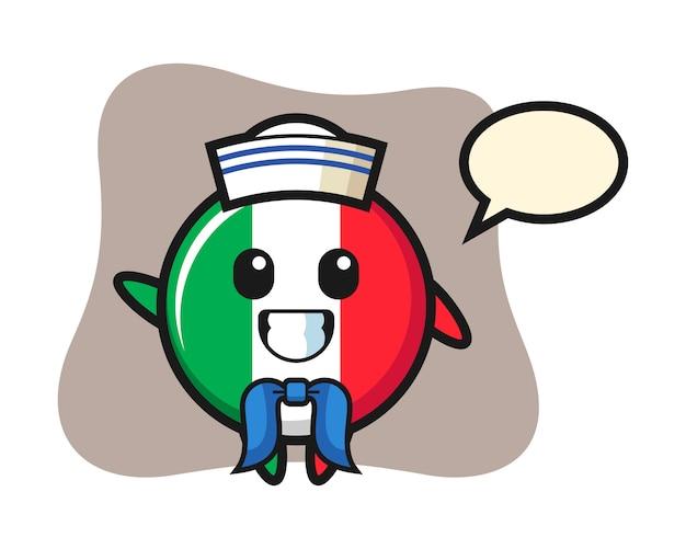 Mascota de carácter de la insignia de la bandera de italia como un marinero, estilo lindo, etiqueta engomada, elemento del logotipo