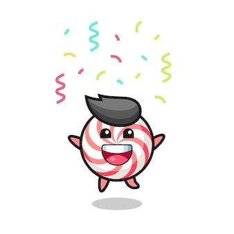 Mascota de caramelo feliz saltando de felicitación con confeti de colores, diseño de estilo lindo para camiseta, pegatina, elemento de logotipo