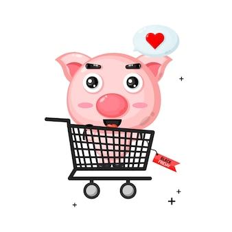 Mascota de cerdo lindo en carrito de compras con descuento de viernes negro