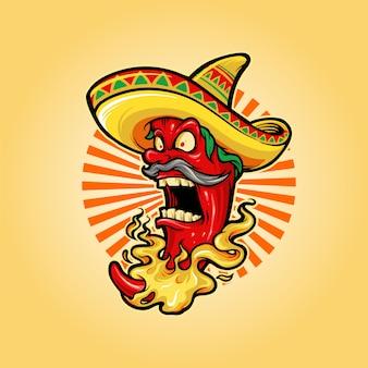 Mascota de chile rojo picante mexicano