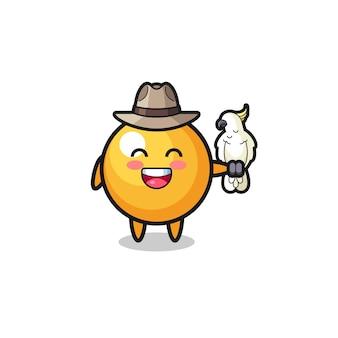 Mascota del cuidador del zoológico de ping pong con un loro, diseño lindo