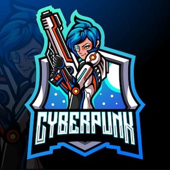 Mascota cyberpunk. diseño de logo de esport