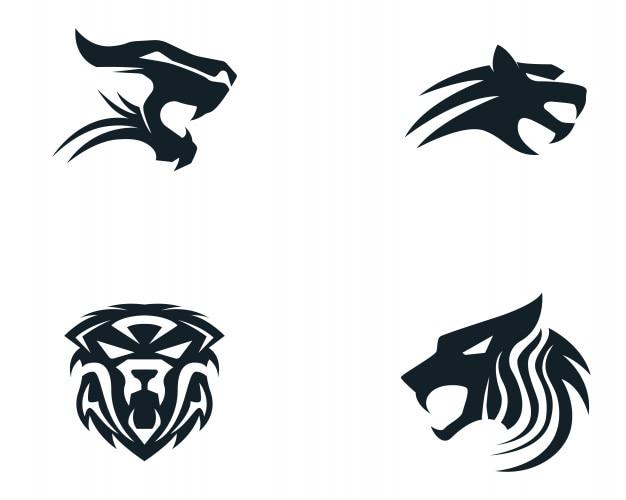 Mascota del logotipo de la cabeza del tigre en el fondo blanco